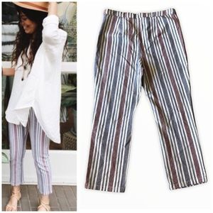 Free People Linen Blend Cropped Striped Pants 12